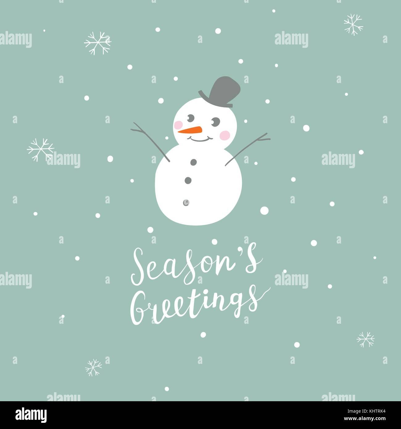 Weihnachtskarte mit niedlichen Schneemann und handschriftliche ...