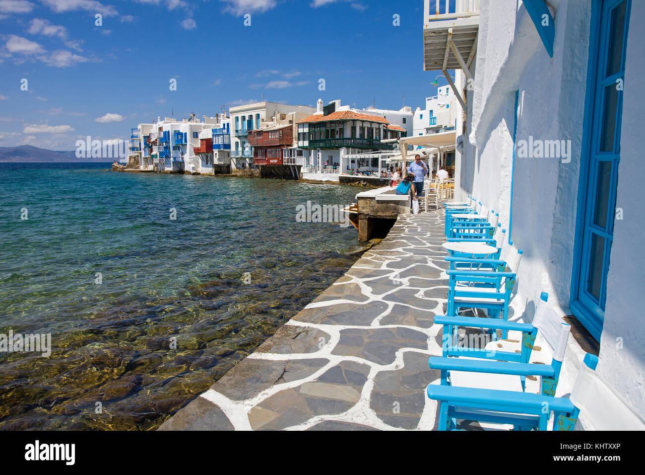 Klein Venedig in Mykonos-Stadt, klein Venedig im Mykonos-Stadt, Mykonos, Kykladen, Ägäis, Griechenland, Stockbild