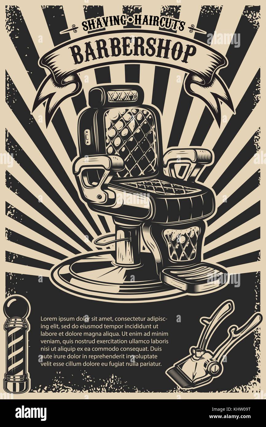Friseur Plakat Vorlage Friseur Stuhl Und Tools Auf Grunge