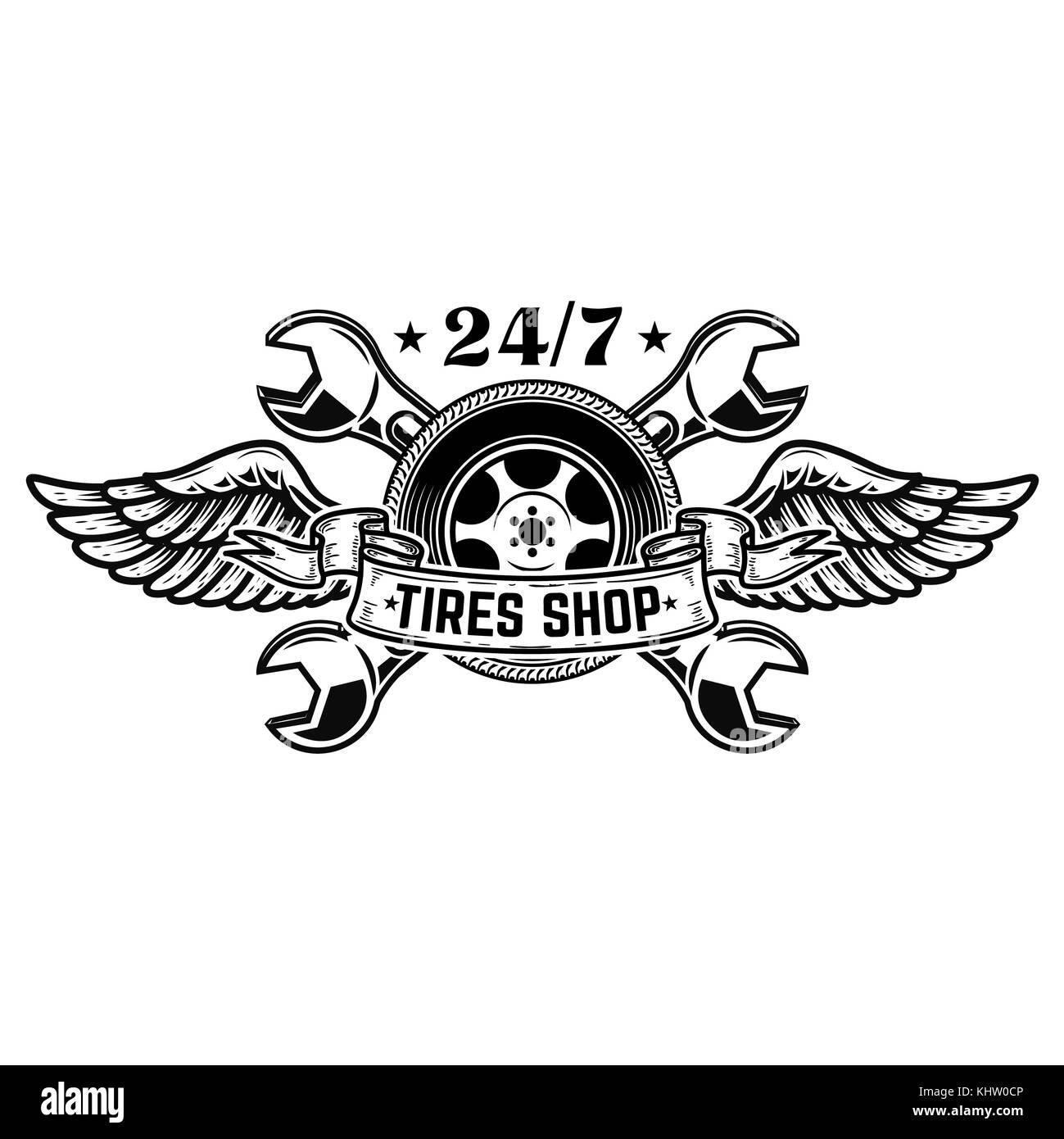 Reifen shop Emblem Vorlage. Auto Rad mit Flügeln ...