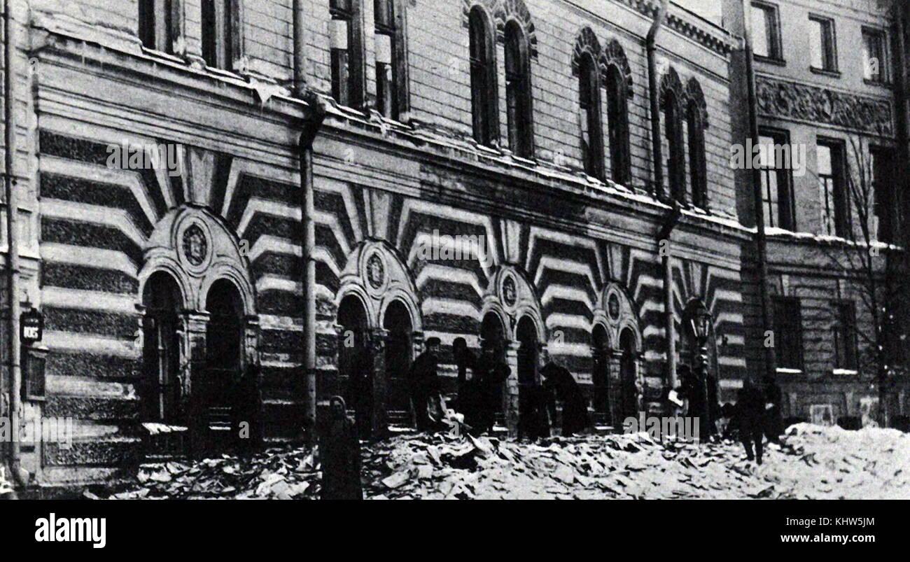 Foto eines Archivs, die während der Russischen Revolution im Jahre 1917 zerstört wurde. Vom 20. Jahrhundert Stockbild