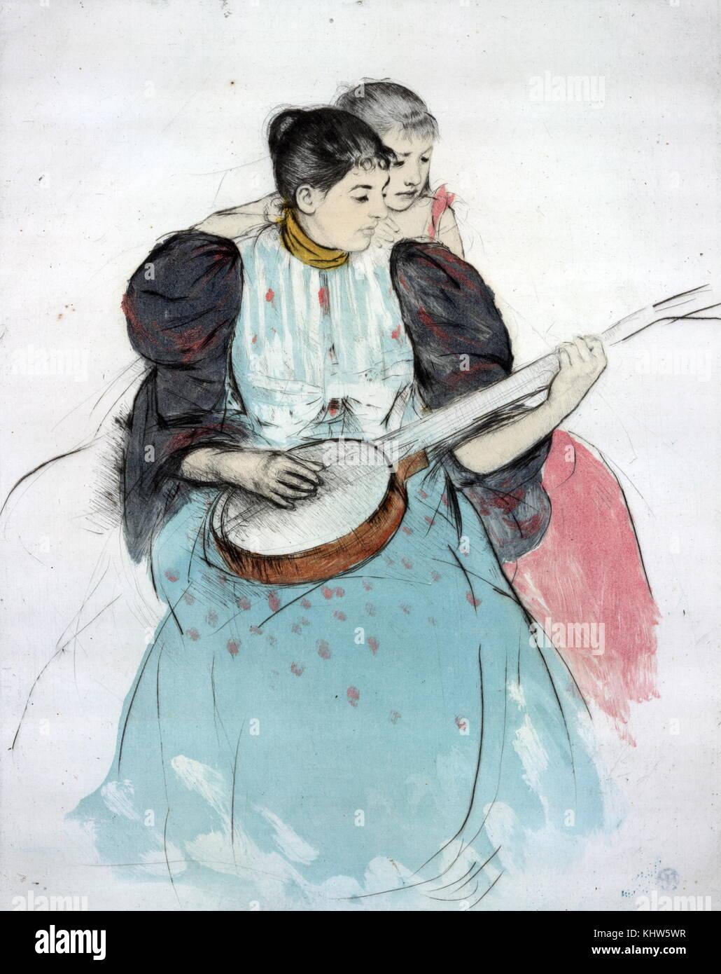 """Gemälde mit dem Titel """"Die Banjo Lektion"""" von Mary Cassatt. Mary Cassatt (1844-1926) ein US-amerikanischer Maler Stockfoto"""