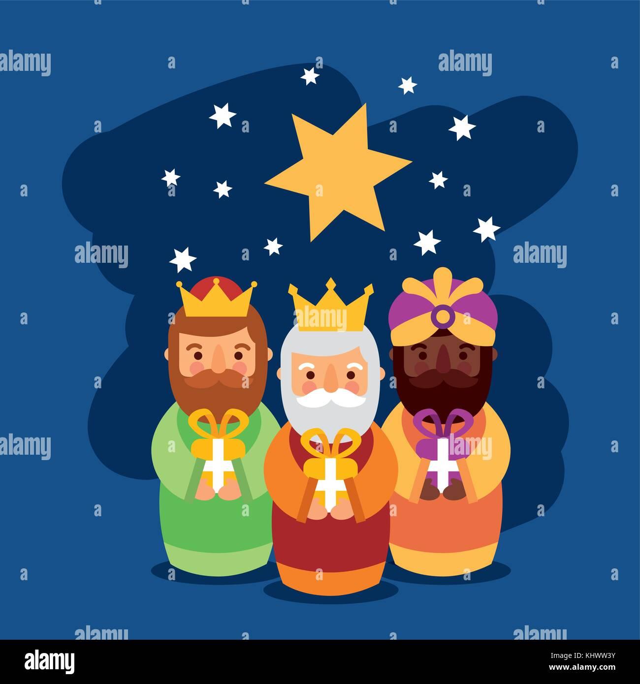 Feliz Dia De Los Reyes Drei Magische Könige Bringen Geschenke Zu