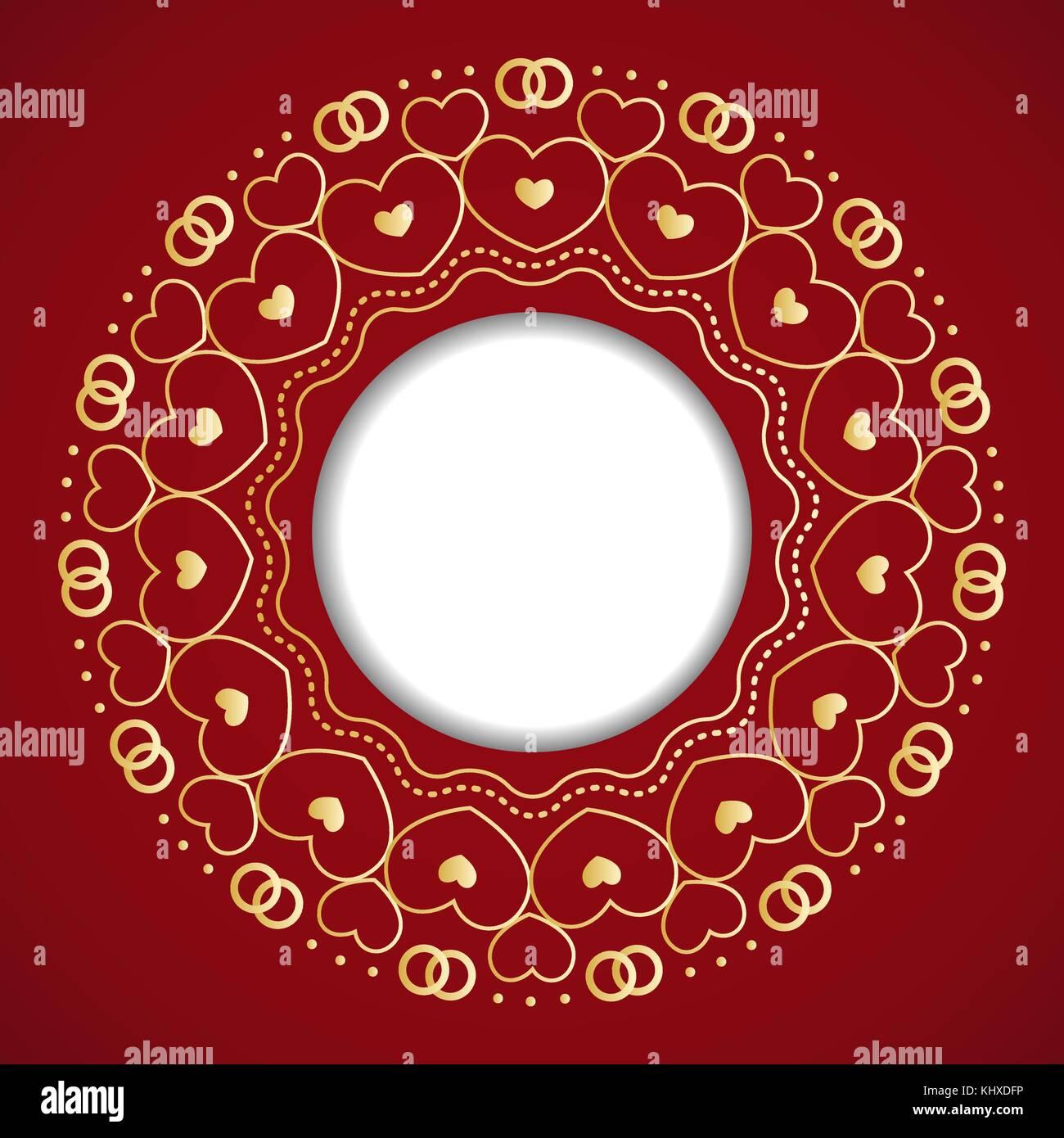 Runden Rahmen mit dekorativen Elementen. Hochzeit Karte mit Gold hea ...
