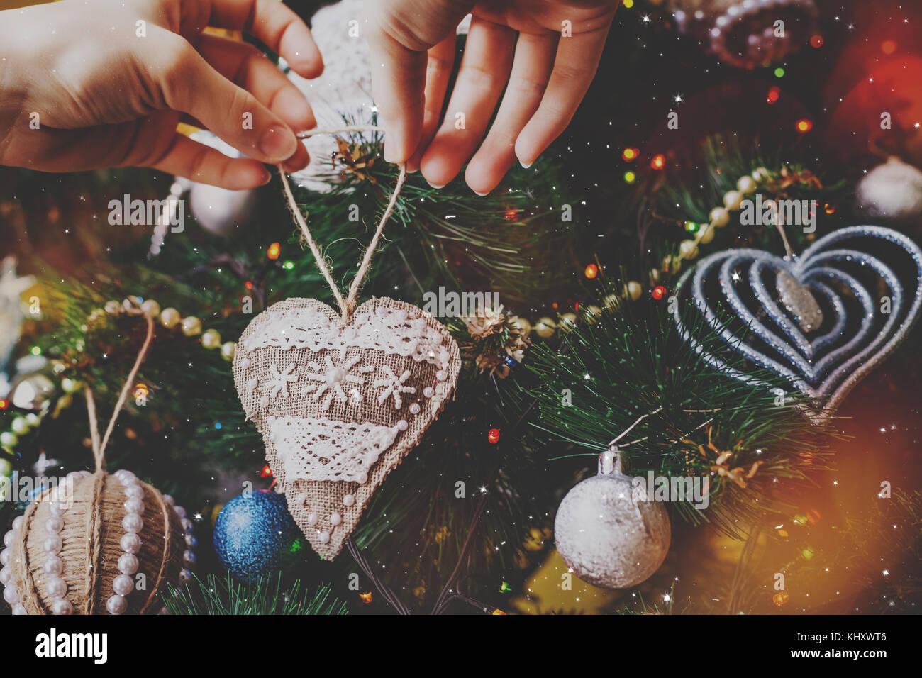 Weihnachten handgefertigte hipster Sack Herz Stockbild