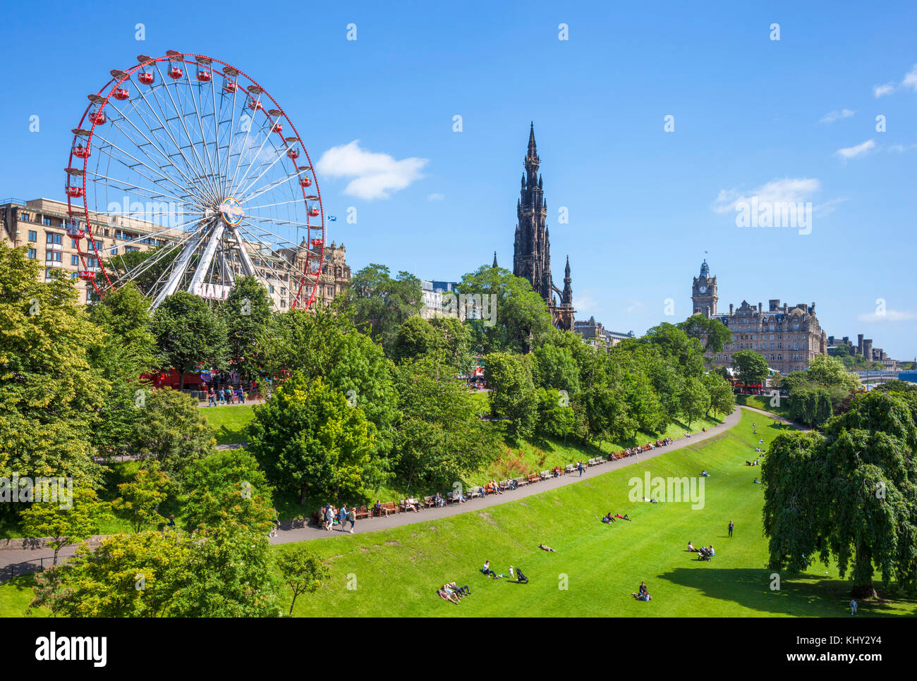 Edinburgh Schottland Edinburgh Edinburgh Edinburgh rad Princes Street Gardens Princes Street New Town von Edinburgh Stockbild