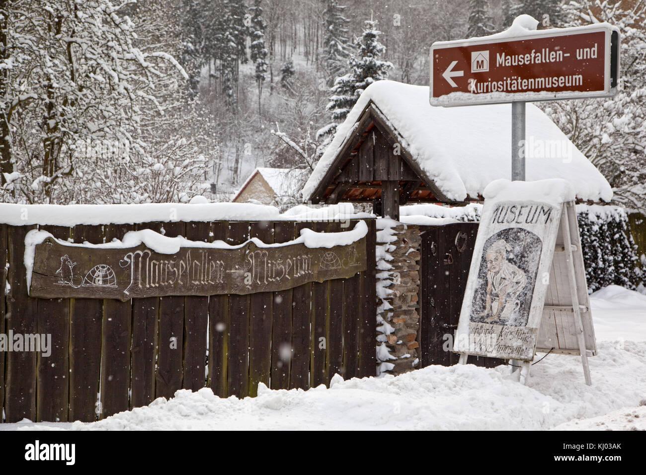Mausefallen und Kuriositäten Museum Güntersberge Stockfoto