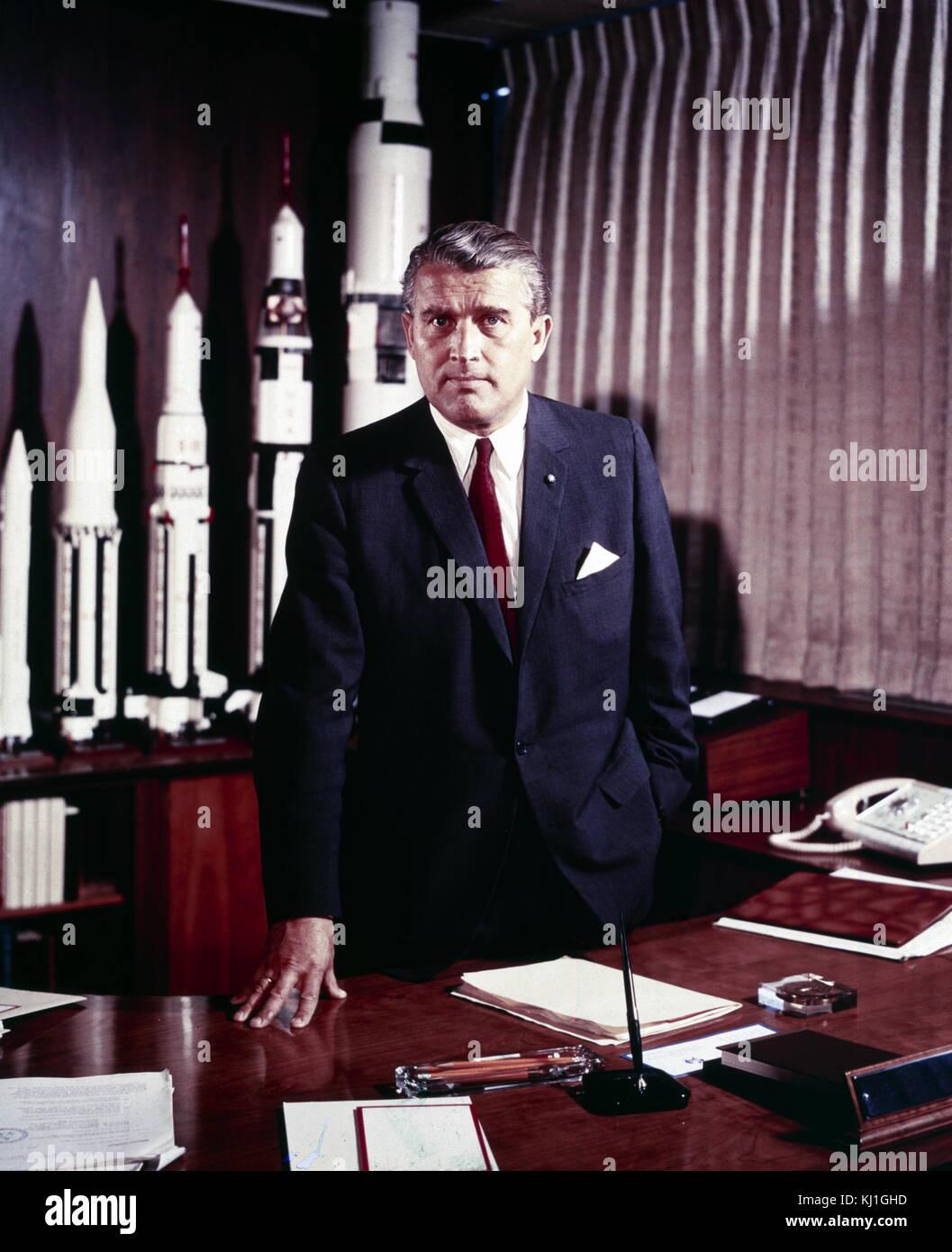 Wernher Magnus Maximilian Freiherr von Braun (23. März 1912 - 16. Juni 1977) war ein Deutscher, später Amerikanischen, Stockfoto