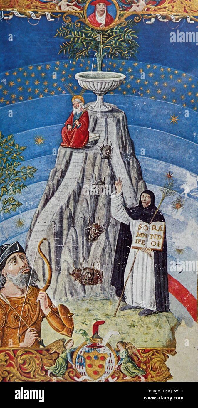 """Beleuchtete Seite der Darstellung der """"Berg der Wissenschaften"""" mit Mose, der Dominikanischen T. Sardi, Stockbild"""