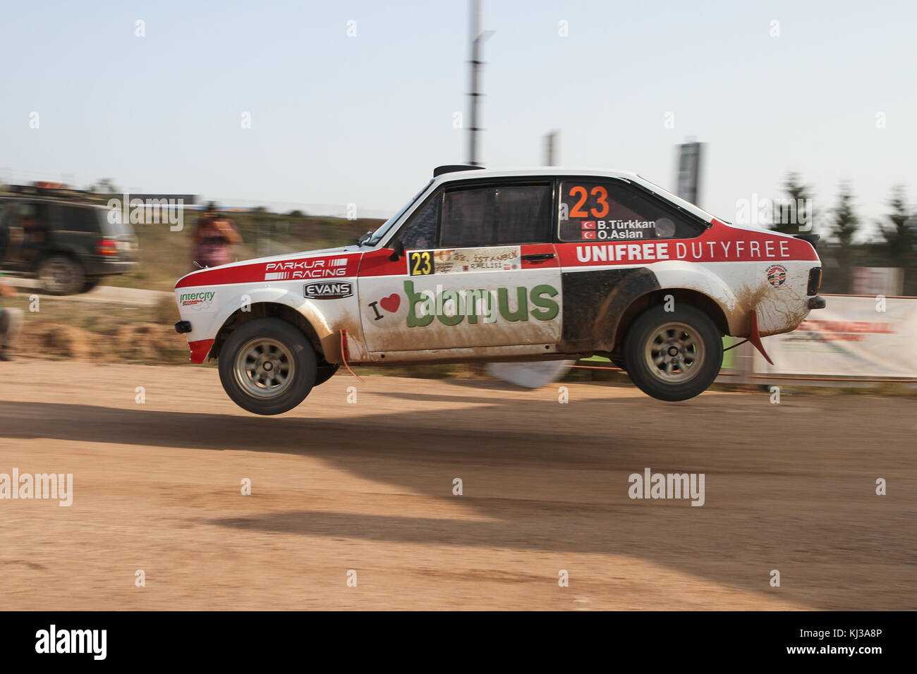 Istanbul, Türkei - 10. September 2017: Burak turkkan Antriebe Ford Escort MKII von parkur Racing Team in isok Stockbild
