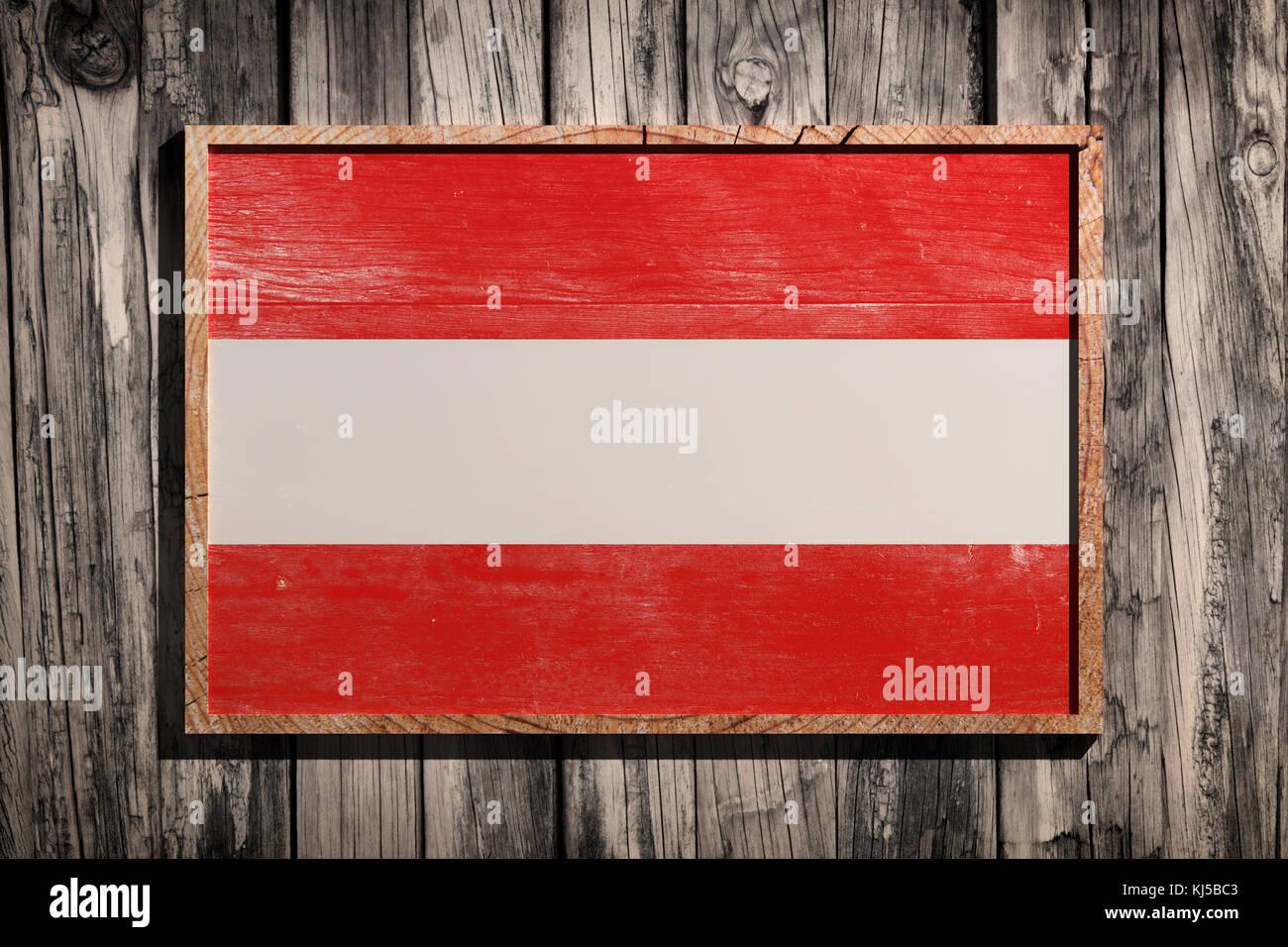 3D-Rendering von Österreich Flagge auf einem Holzrahmen über einen ...