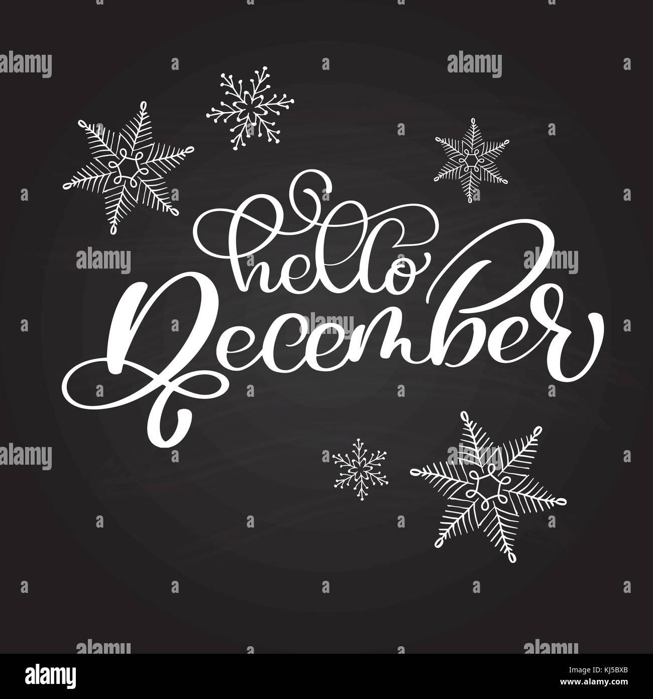 Hand gezeichnet Typografie Schrift phrase Hallo Dezember auf einer ...