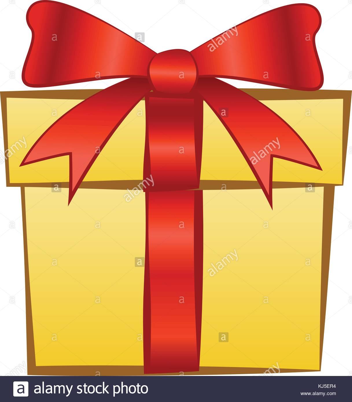 Geschenk Gelb Und Rot Schleifenband Zeichen Von Glucklich Und Gruss
