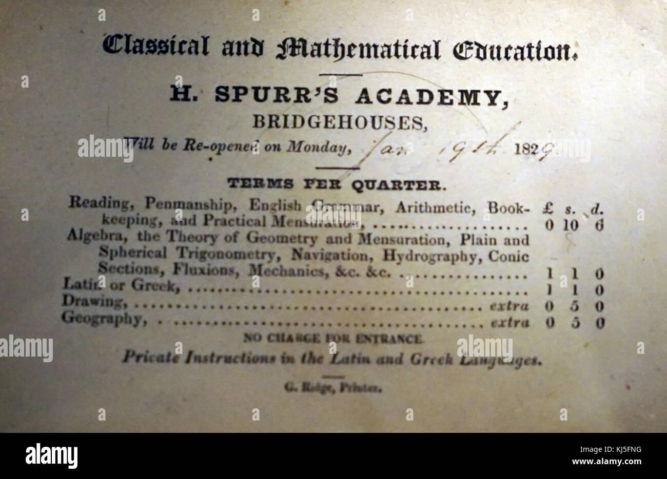 H. Spurr Academy Bridgehouses Preisliste für Klassen und Zulassung. Vom 19. Jahrhundert Stockbild