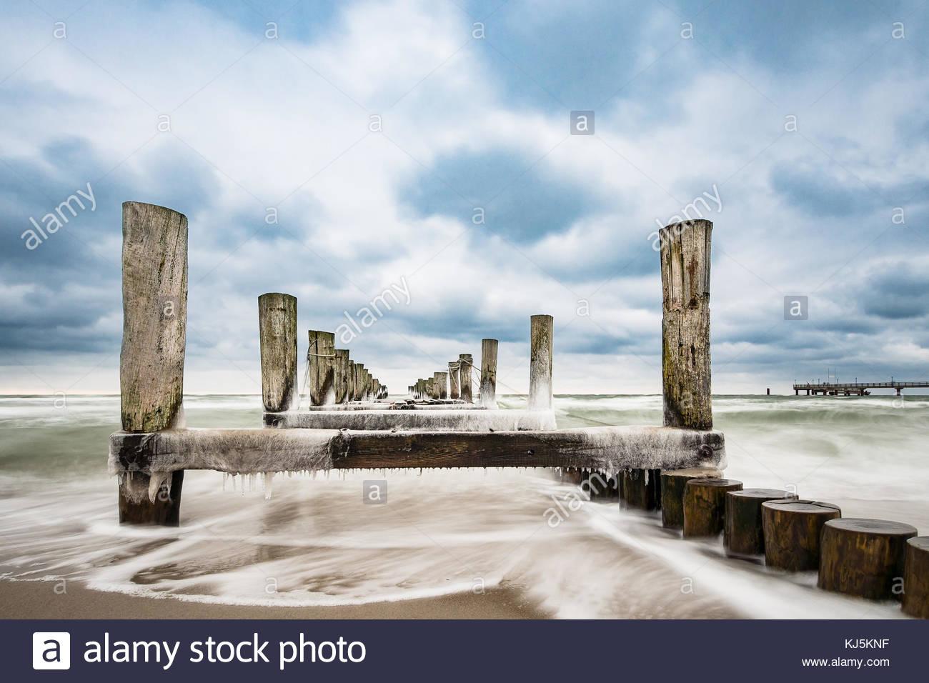 Buhne an der Ostsee Stockbild