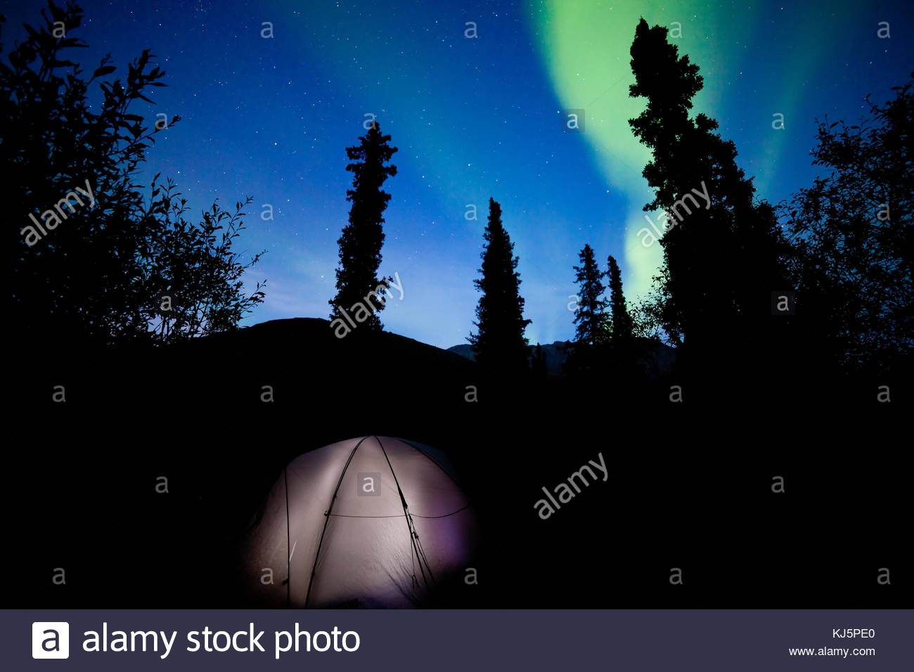 Camping unter Northern lights Stockbild