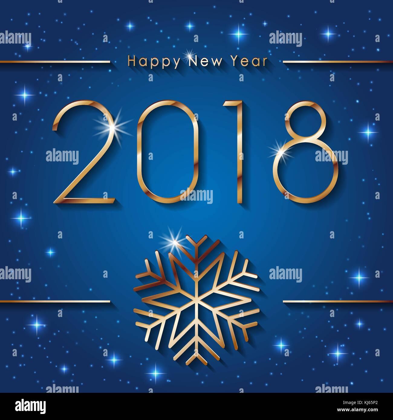 Frohes neues Jahr 2018. seasons greetings Banner mit goldenen ...