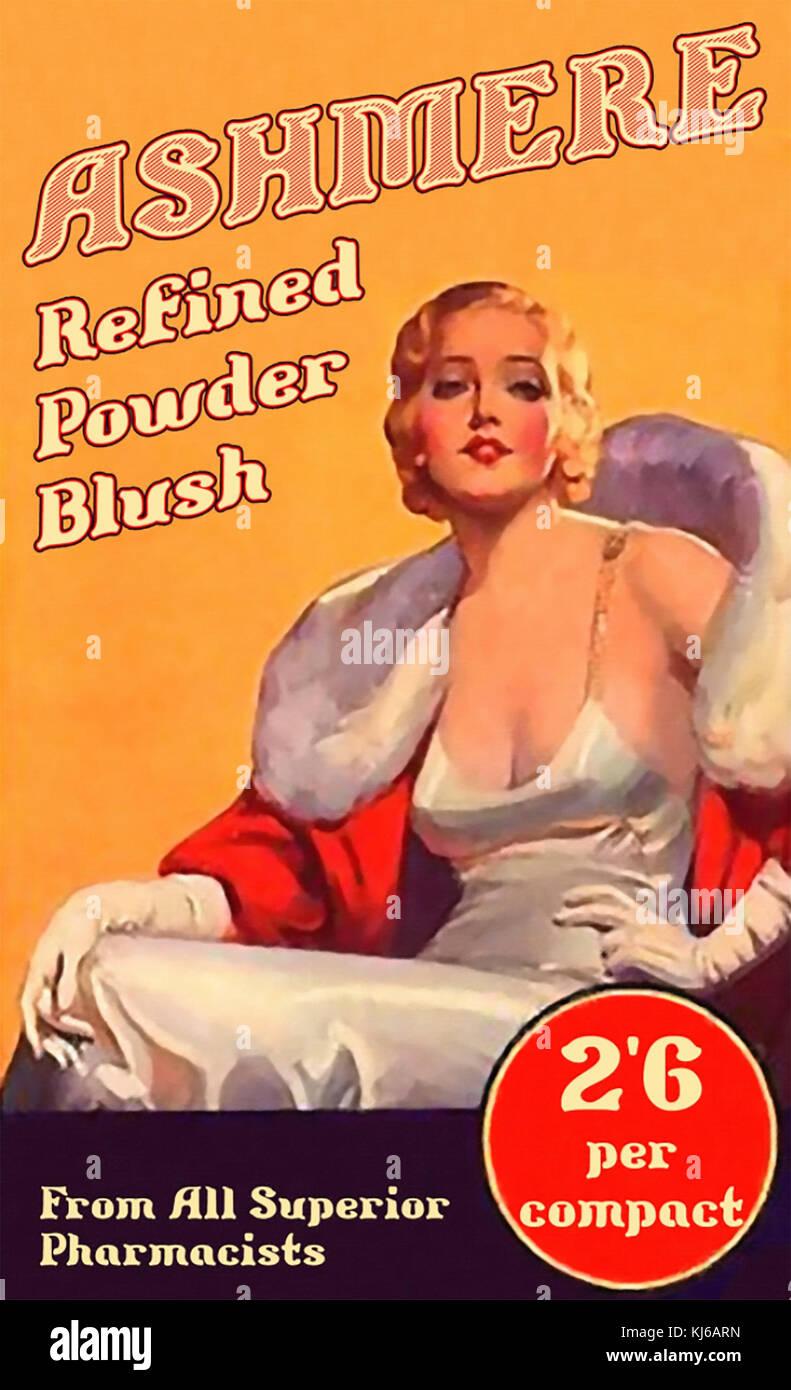 Ashmere Kosmetik Werbung über 1925 Stockbild