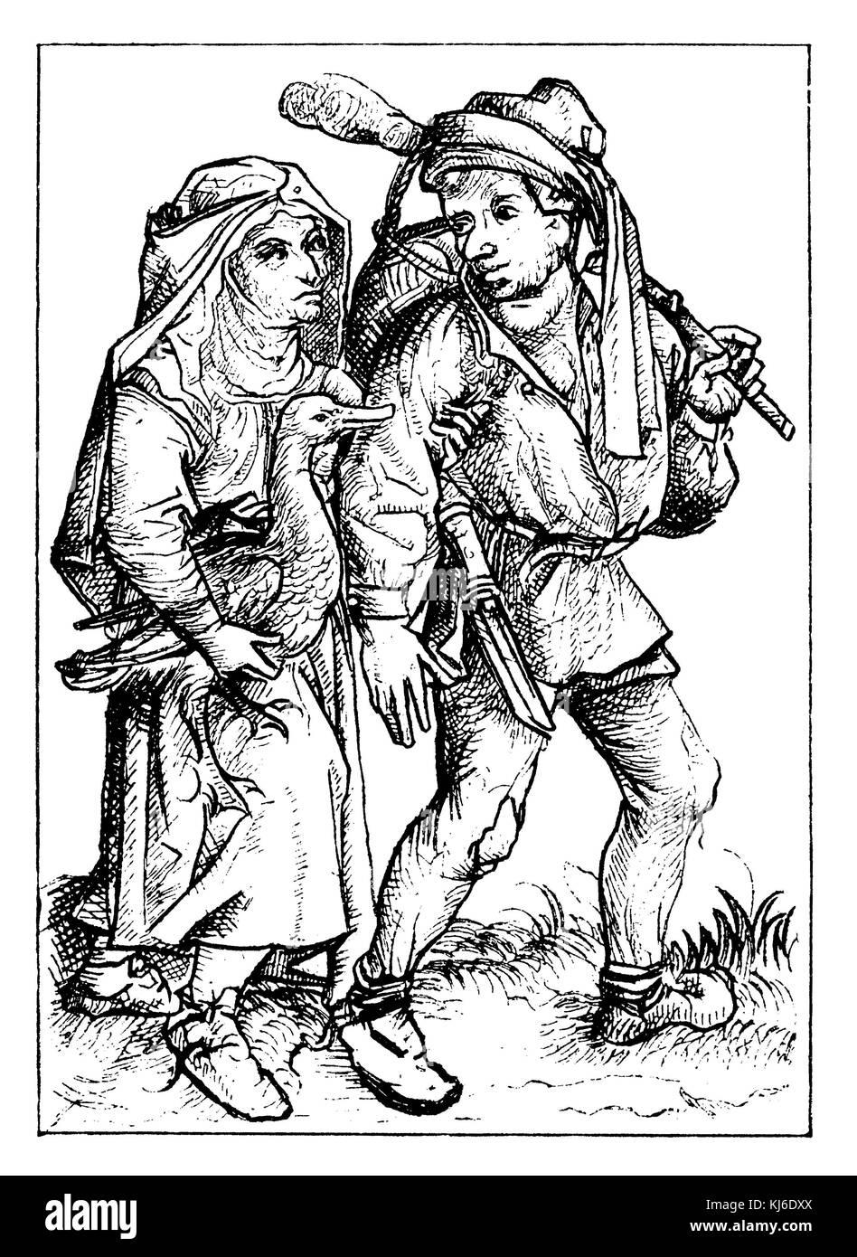 Die deutschen Landwirte im 15. Jahrhundert (Bauern im 15. Jahrhundert) Stockbild