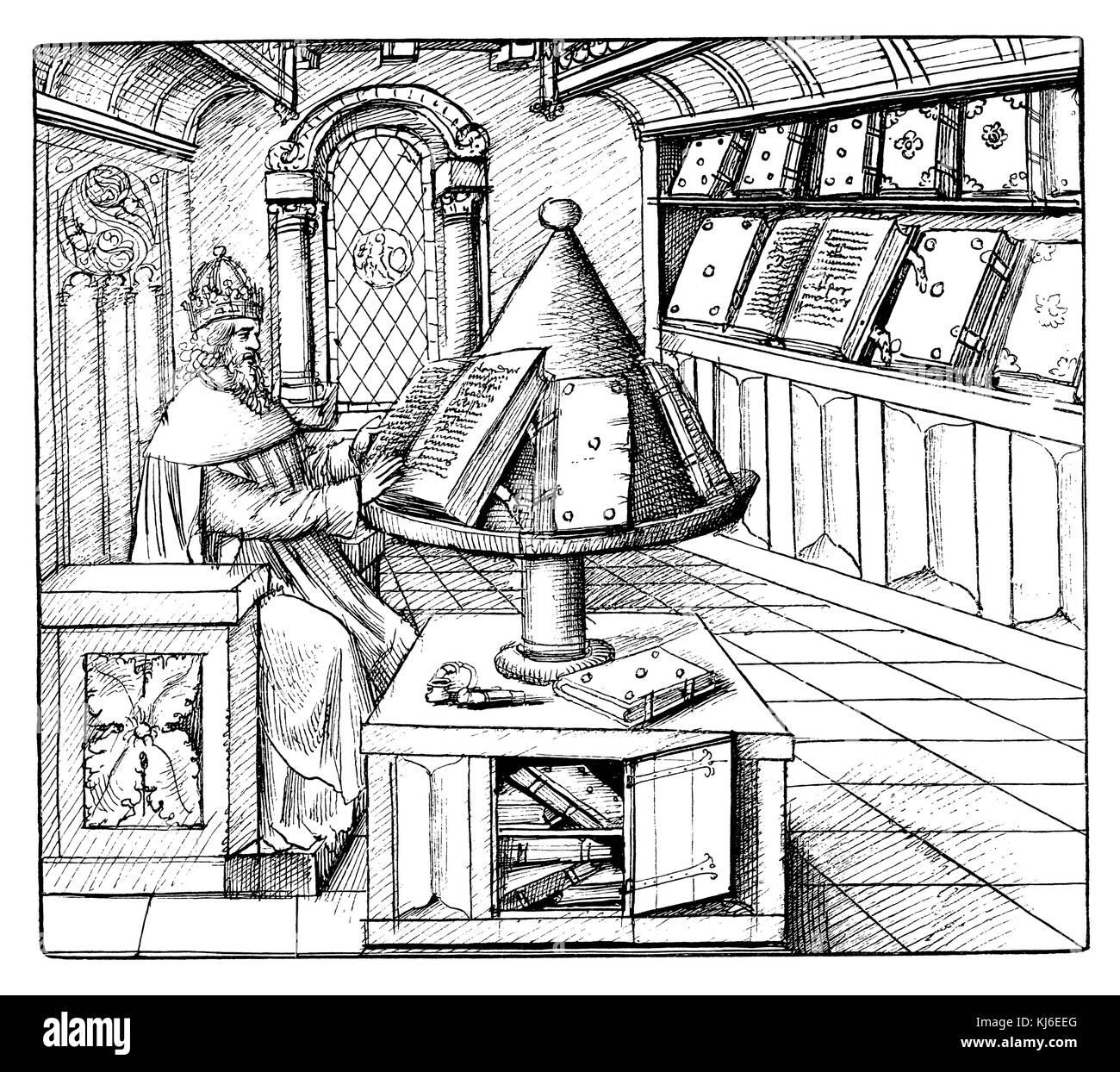 Bibliothek und scriptorium des 15. Jahrhunderts (Bücherei und schreibstube aus dem 15. Jahrhundert) Stockbild