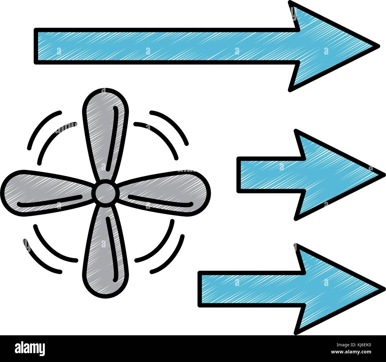 Ventilator mit Pfeilen isolierte Symbol Stockbild