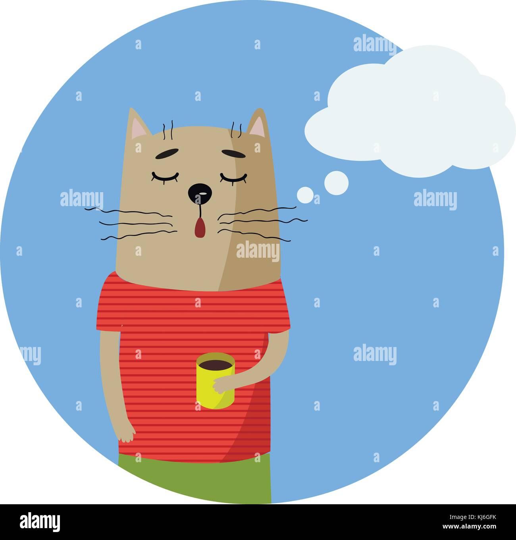 Cute cartoon Hand gezeichnete Katze in gestreiften T-Shirt mit Tasse ...