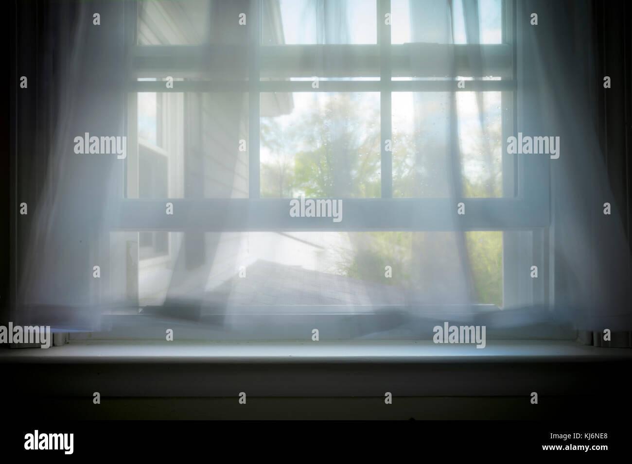 Sanfte Brise weht durch offene Fenster mit Vorhängen wogenden Stockbild
