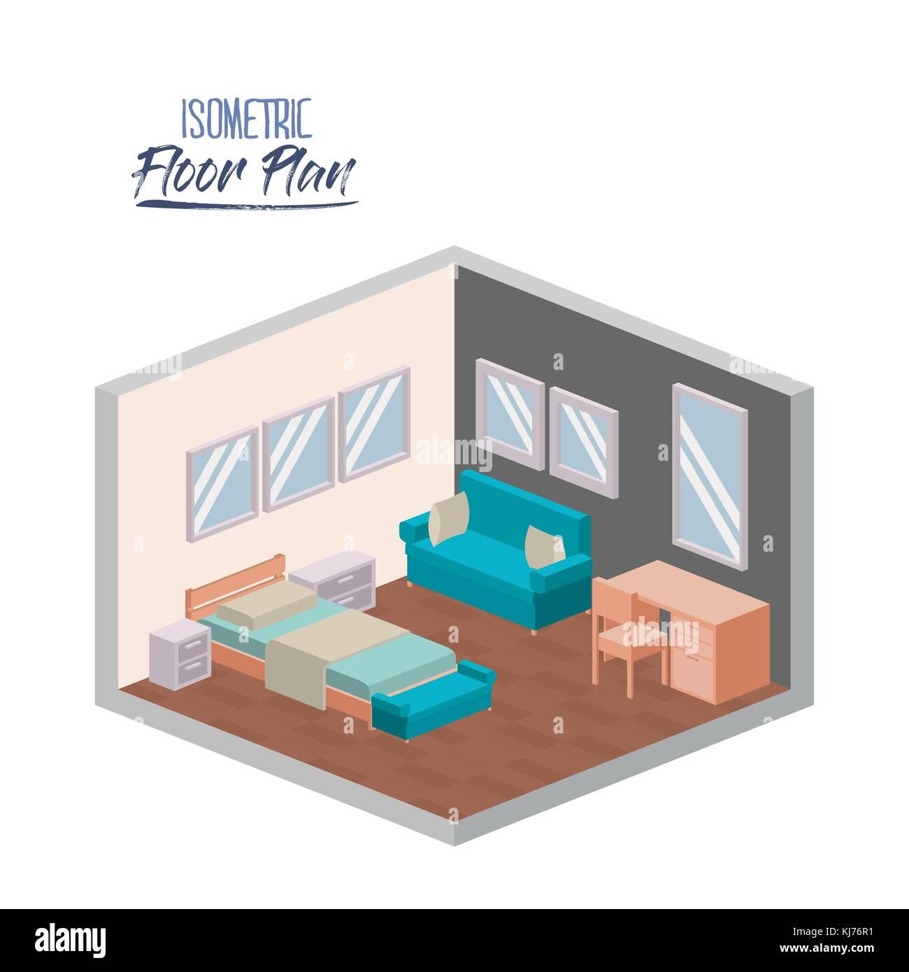 Isometrische Grundriss Vom Schlafzimmer Innenraum Farbenfrohe Silhouette