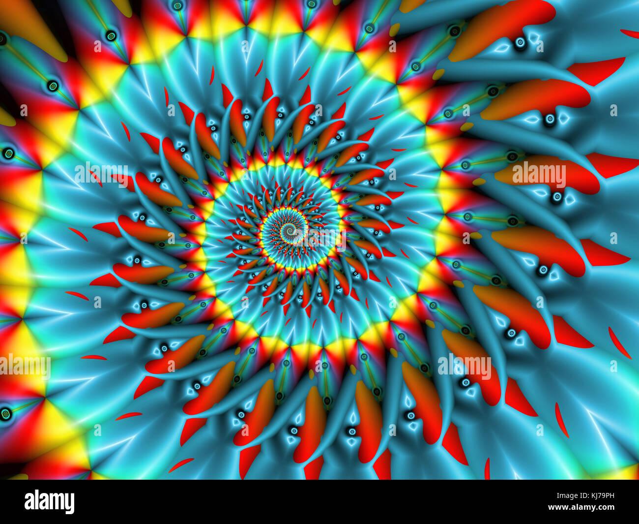 Blau spinning Fractal Stockbild
