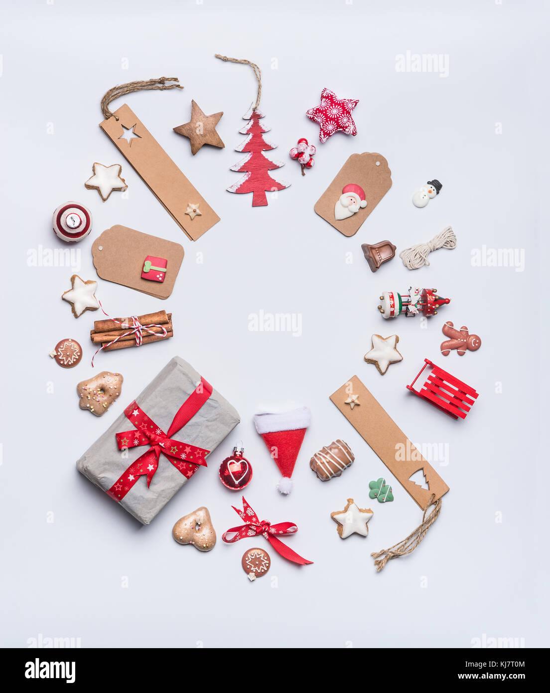 Runde Weihnachten Rahmen layout Komposition für Grußkarte mit ...
