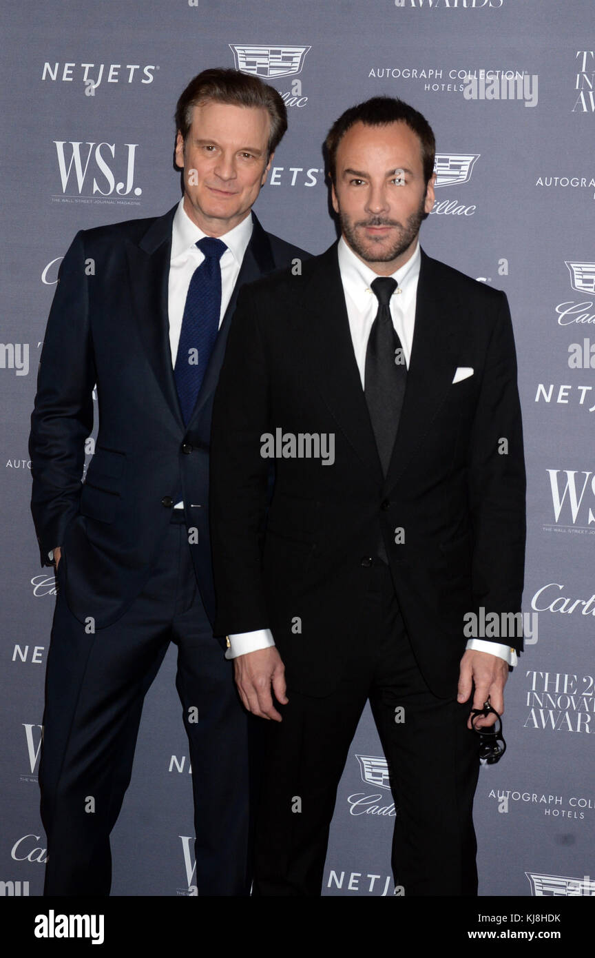 New York, New York - November 02: Colin Firth, Tom Ford nimmt an der Wall Street Journal Magazine Innovator Awards Stockbild