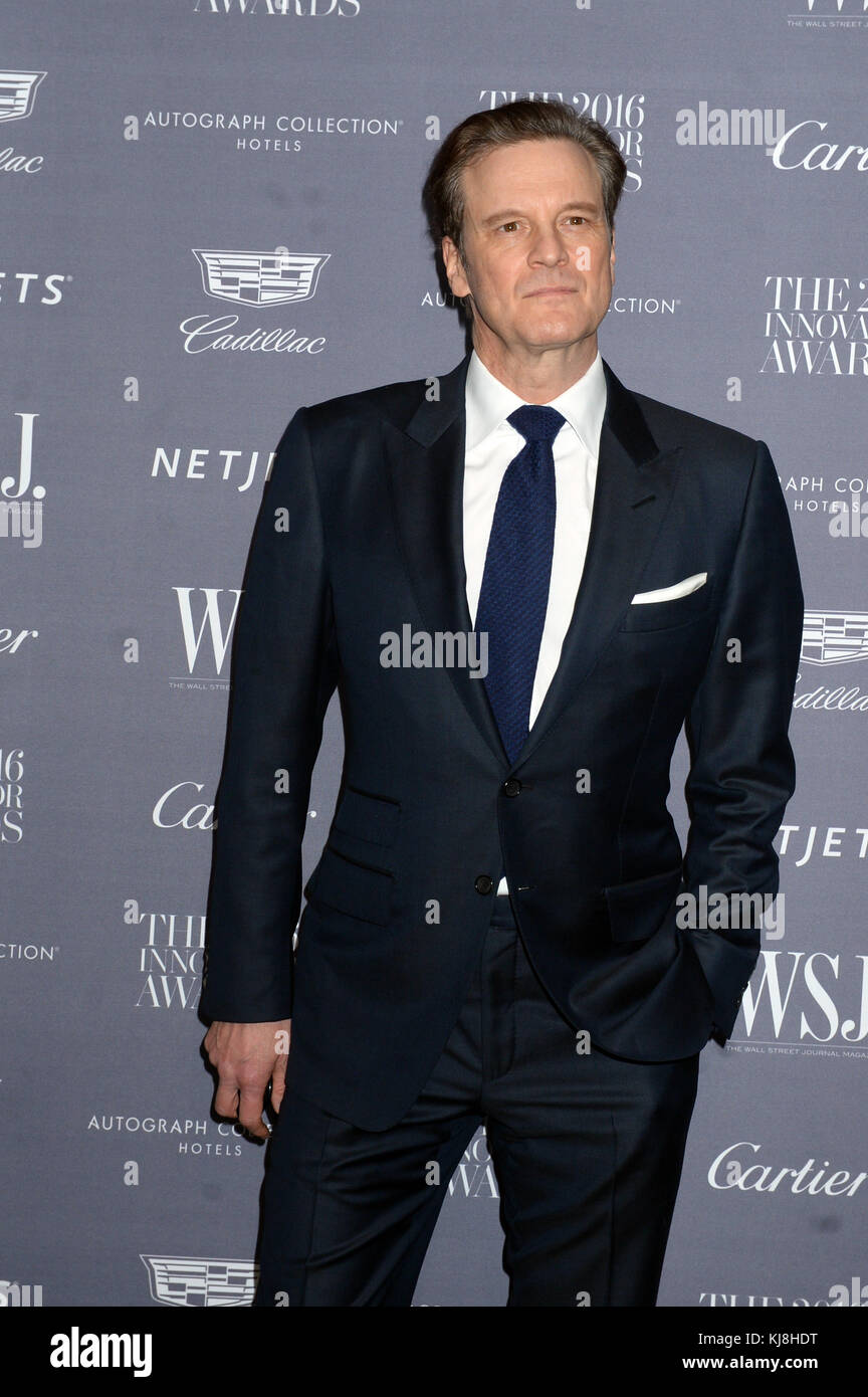 New York, New York - November 02: Colin Firth besucht die wsj Magazine Innovator Awards am Museum für moderne Stockbild