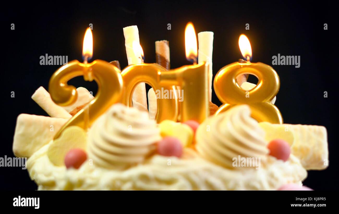 2018 Frohes Neues Jahr Showstopper Kuchen Glasur Mit Weisser