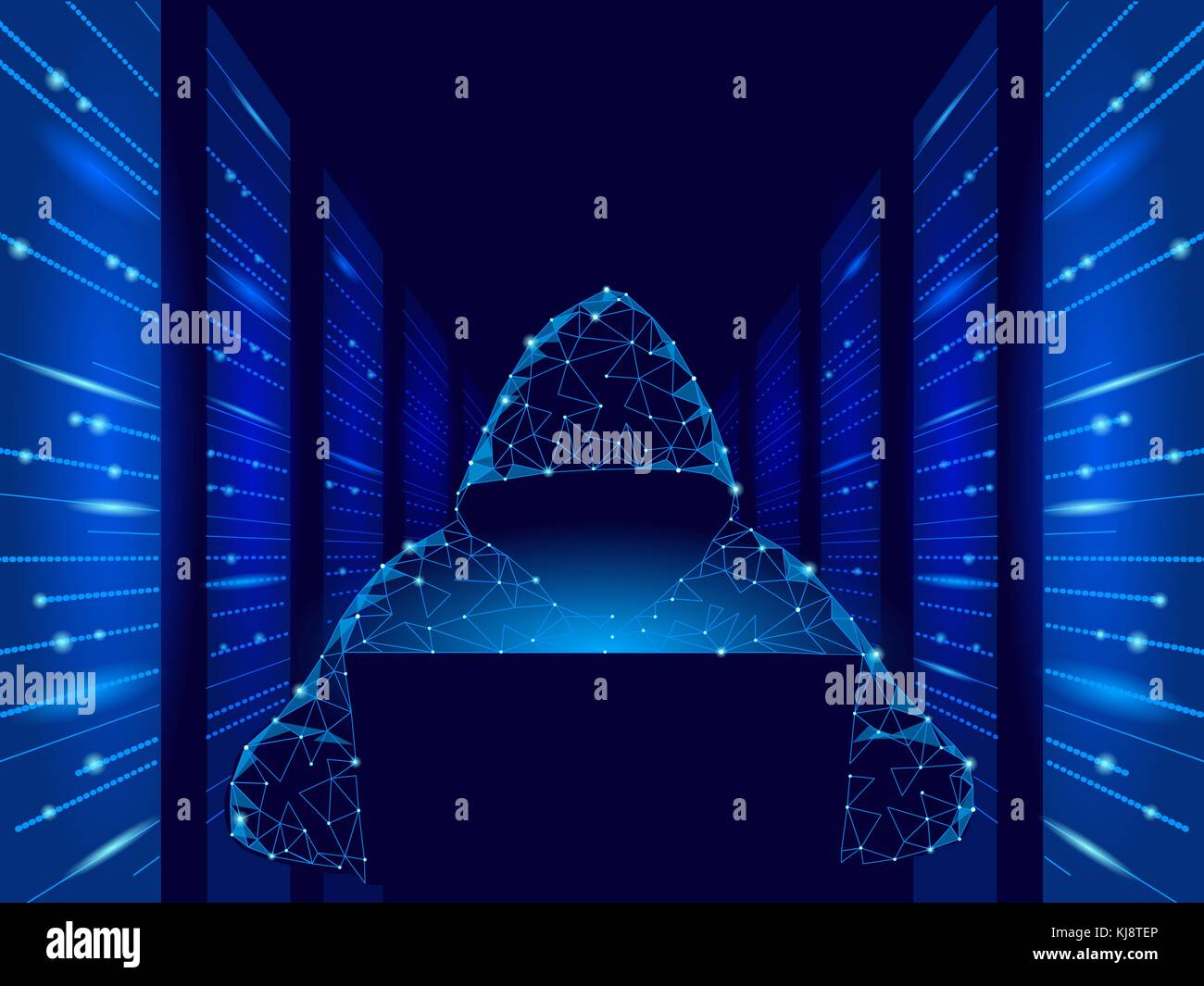 Internet Security Cyber Attack Business Konzept Low Poly. anonymer Hacker am Laptop blau Finanzen Gefahr. serverraum Stockbild