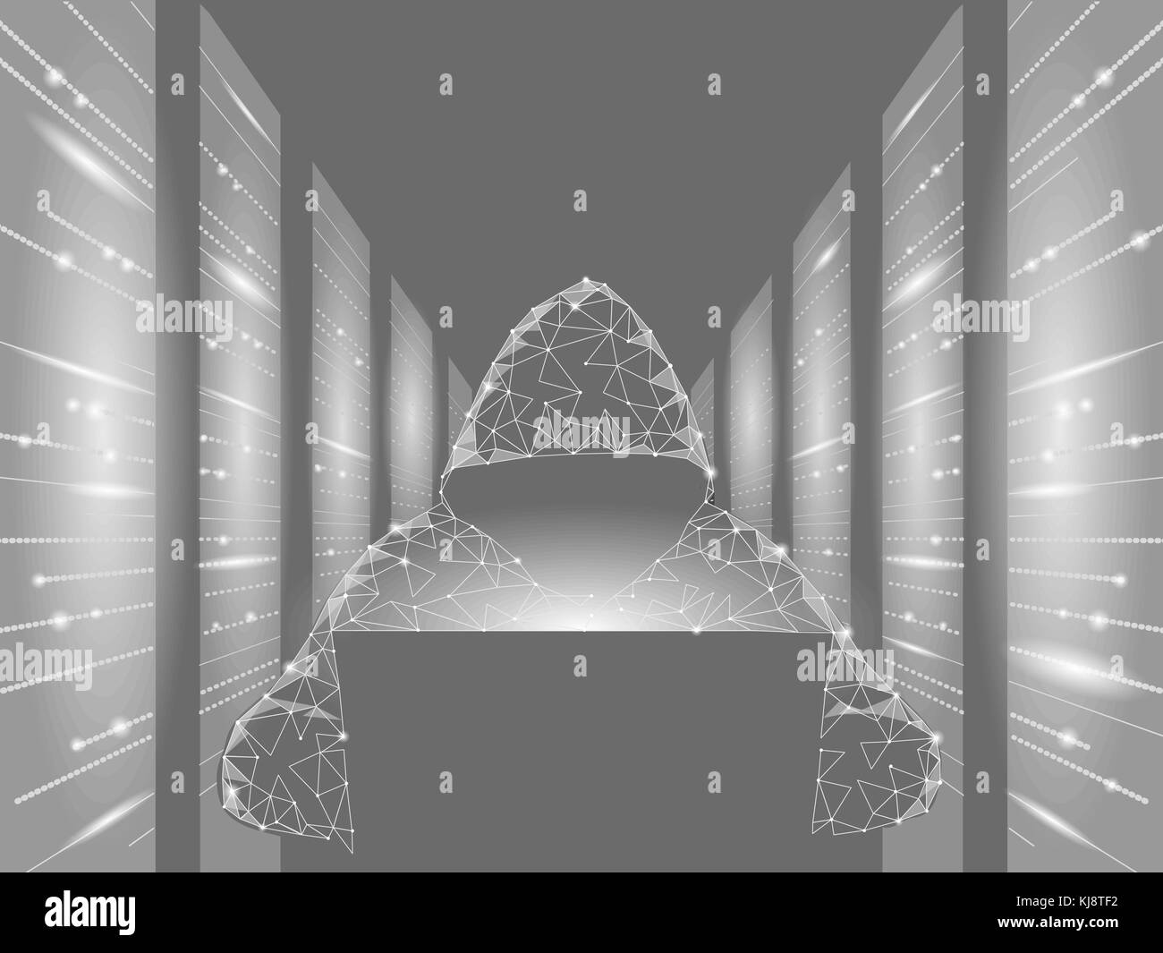 Internet Security Cyber Attack Business Konzept Low Poly. anonymer Hacker Laptop grau weiß Finanzen Gefahr. Stockbild