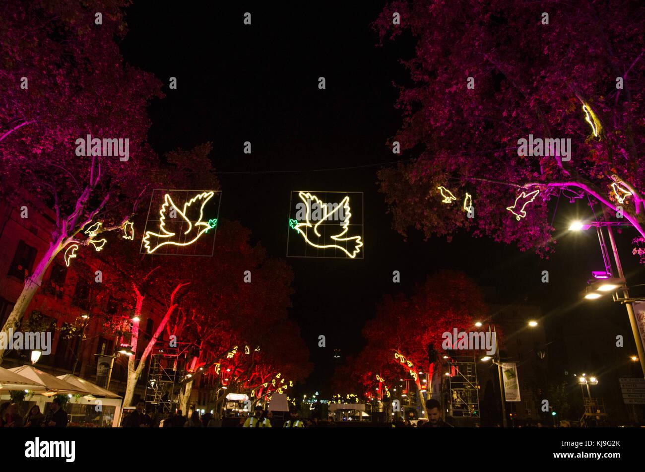 Stecker Für Weihnachtsbeleuchtung.Barcelona Katalonien Spanien 23 Nov 2017 Allgemeine Ansicht Der