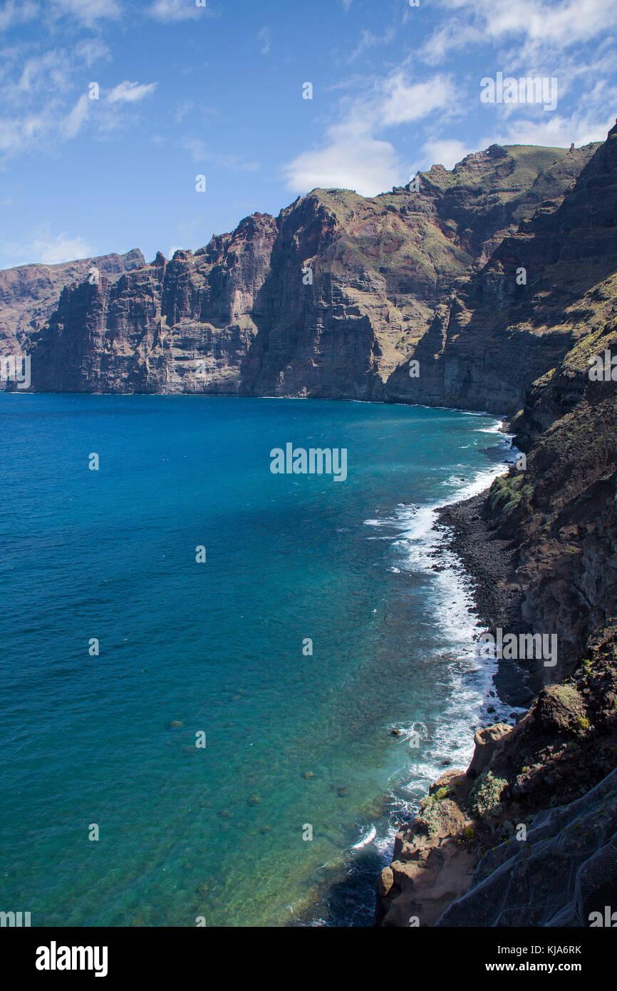 Blick auf Los Gigantes an der Westkueste, Los Gigantes, Westseite der Insel, Teneriffa, Kanarische Inseln, Spanien Stockfoto