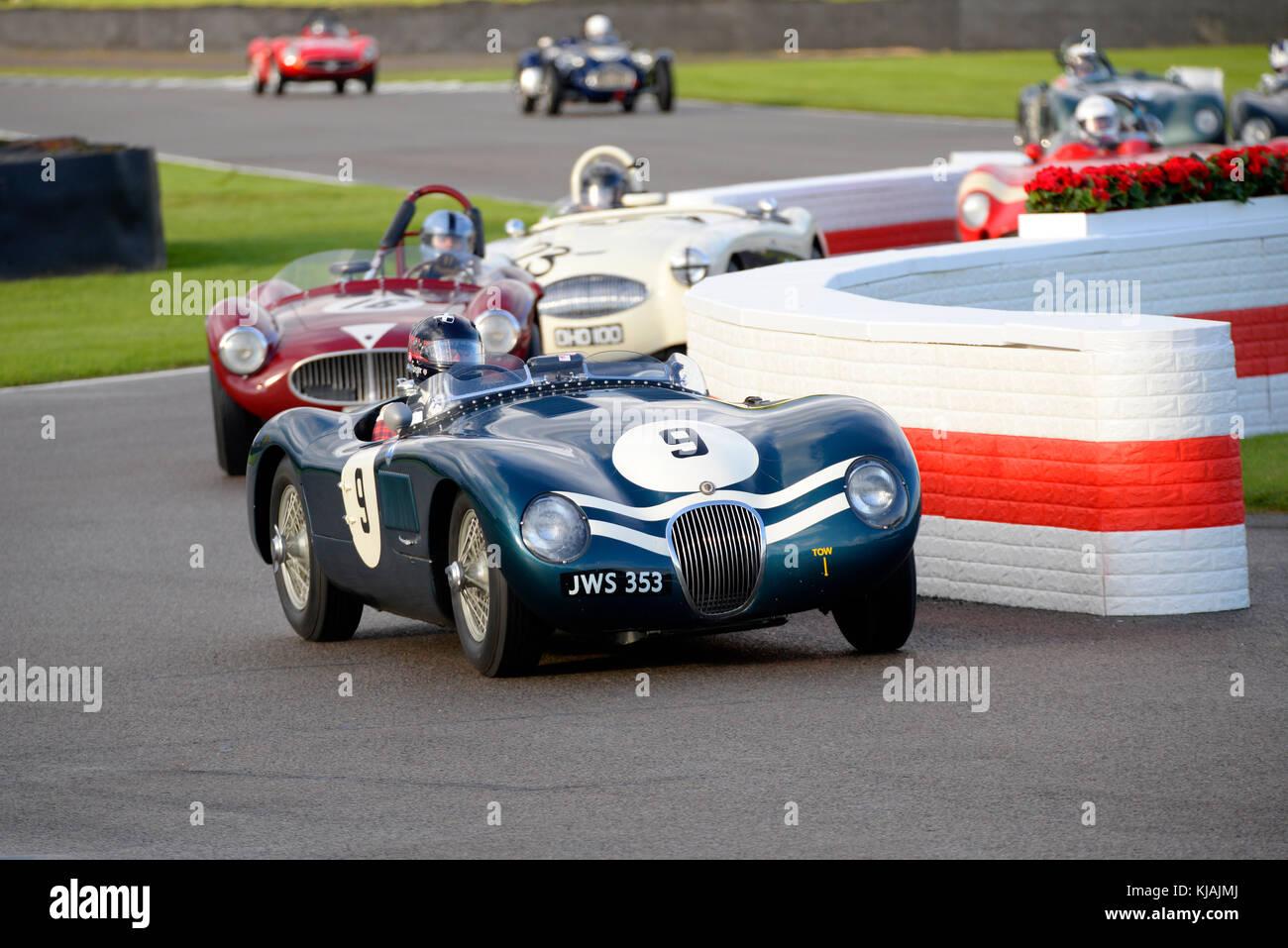 1952 Jaguar Typ C angetrieben und von Stefan Ziegler racing in der Freddie März Memorial Trophy am Goodwood Stockbild