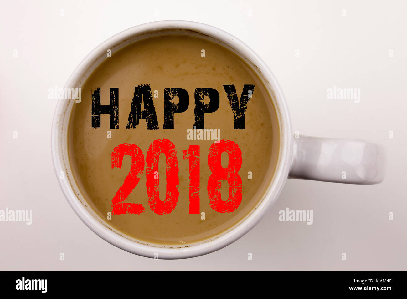 wort schrift happy 2018 text in kaffee in der tasse. Black Bedroom Furniture Sets. Home Design Ideas