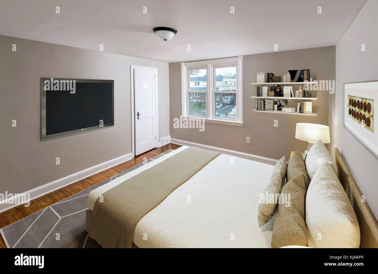 Wohn-Schlafzimmer-Einrichtung Stockfoto, Bild: 166195297 - Alamy