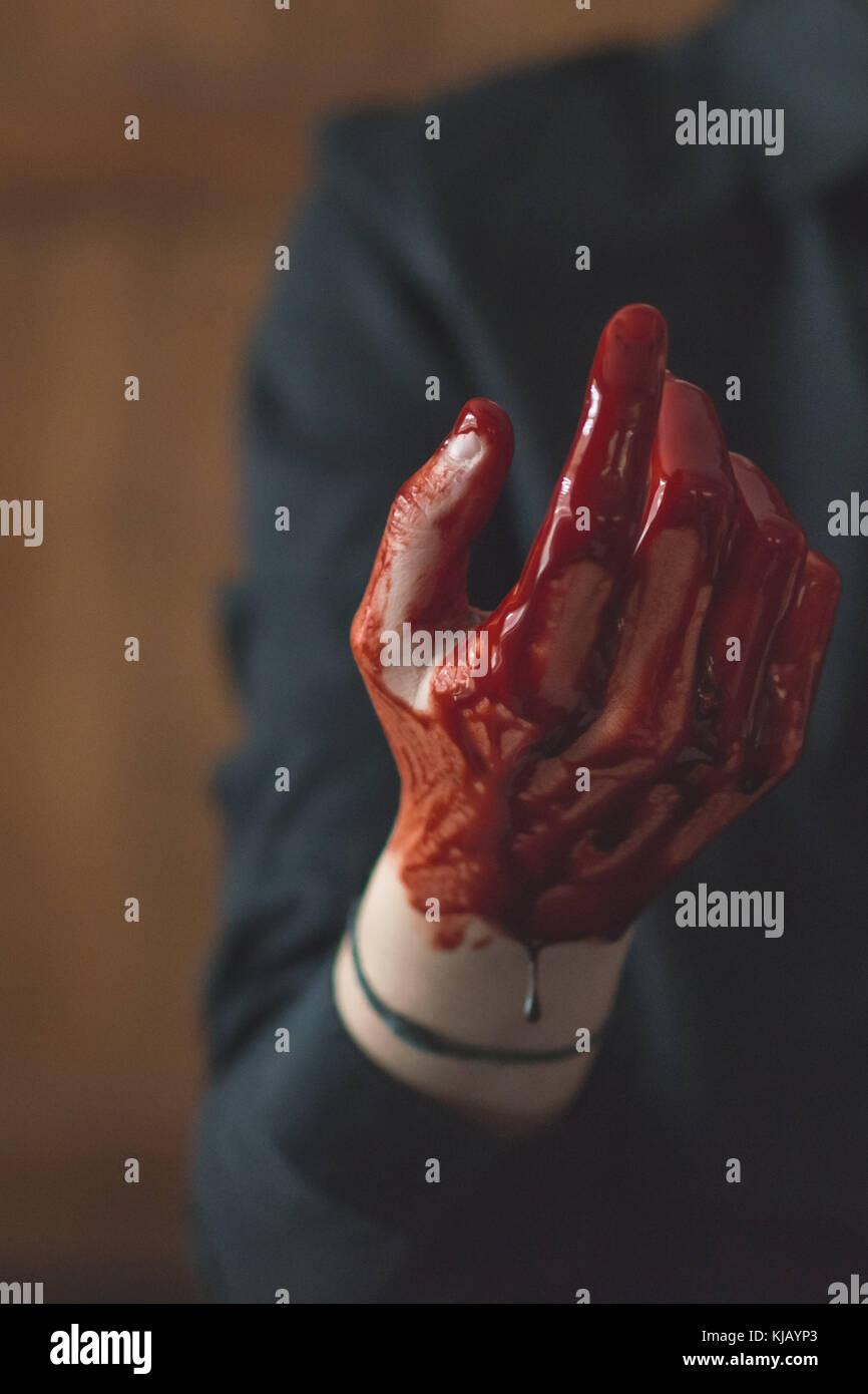 Blutige Finger Stockbild