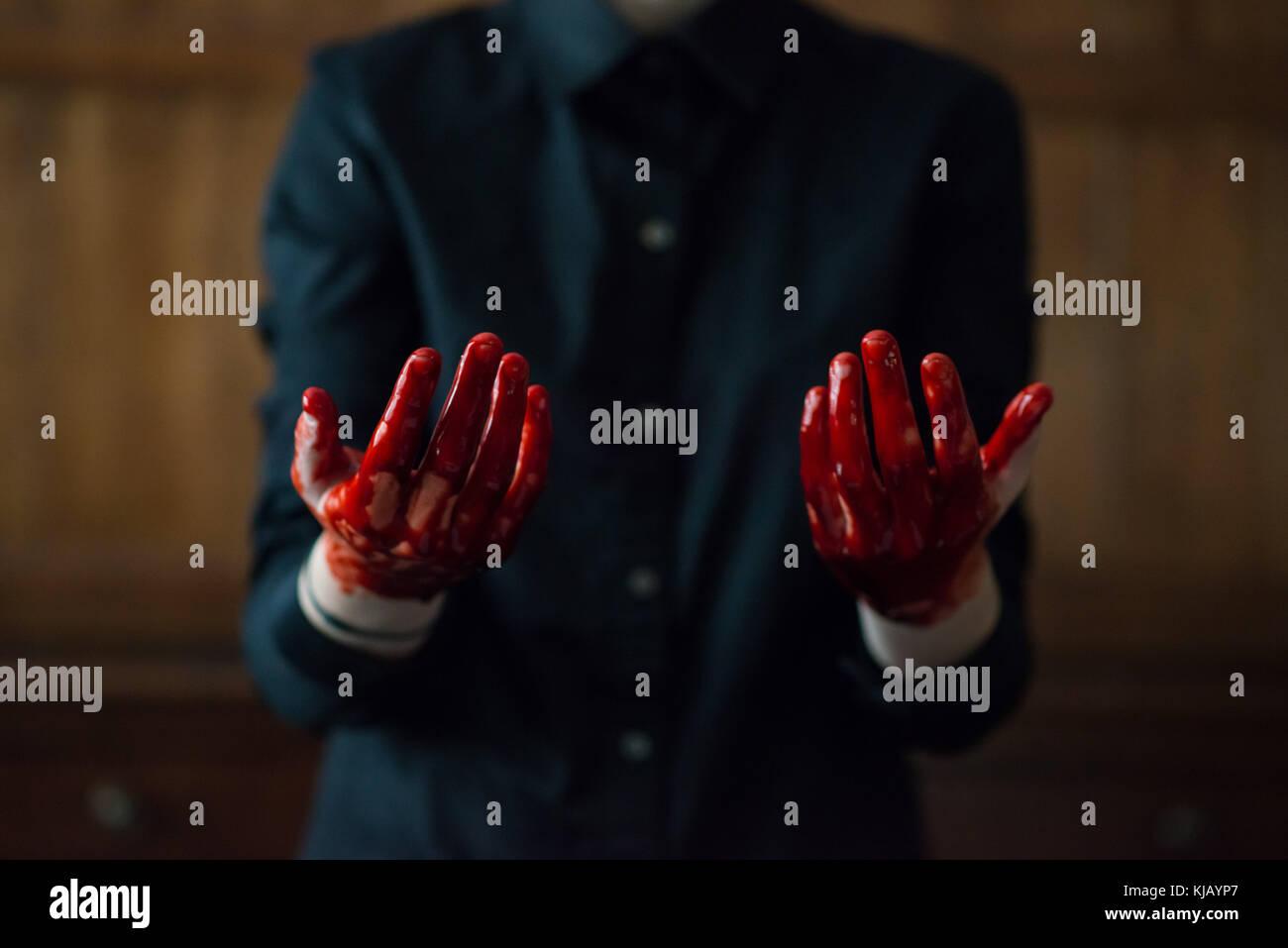 Blutige Hände Stockbild