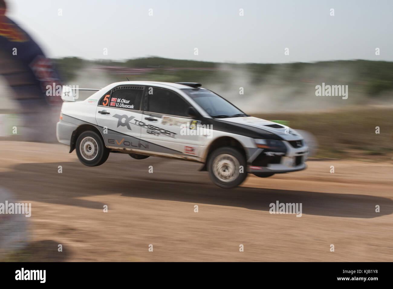 Istanbul, Türkei - 10. September 2017: menderes okur Antriebe Mitsubishi Lancer Evo IX Der toksport wrt Team Stockbild