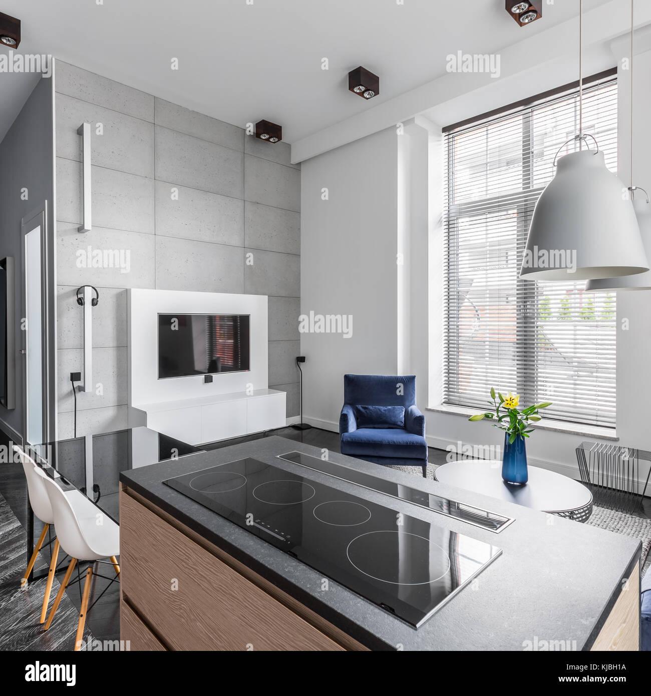 Wohnung mit Beton Wand Fliesen in Wohnzimmer offene Küche ...