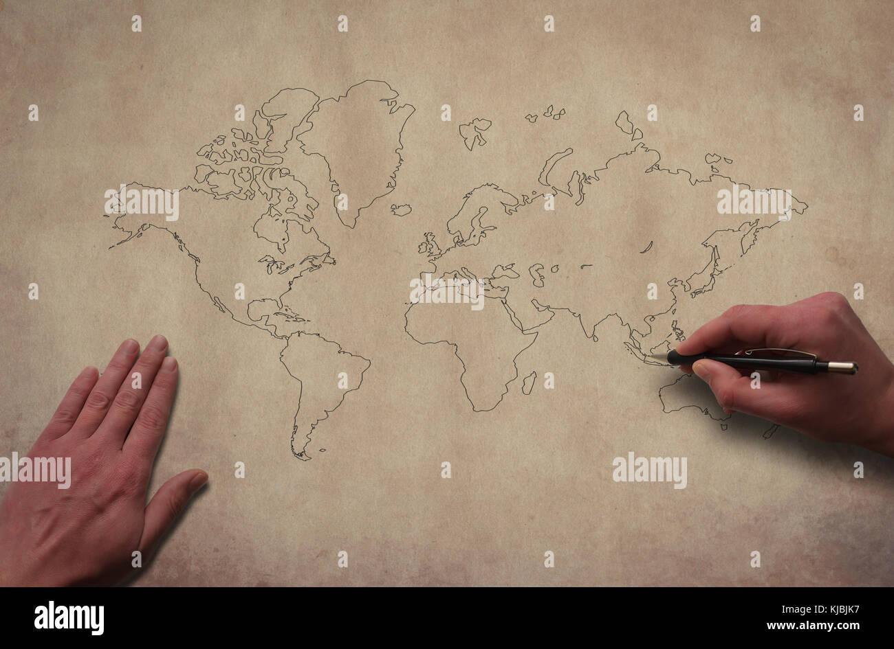 Hände Zeichnen Weltkarte überblick Weltkarte Auf Dem Alten