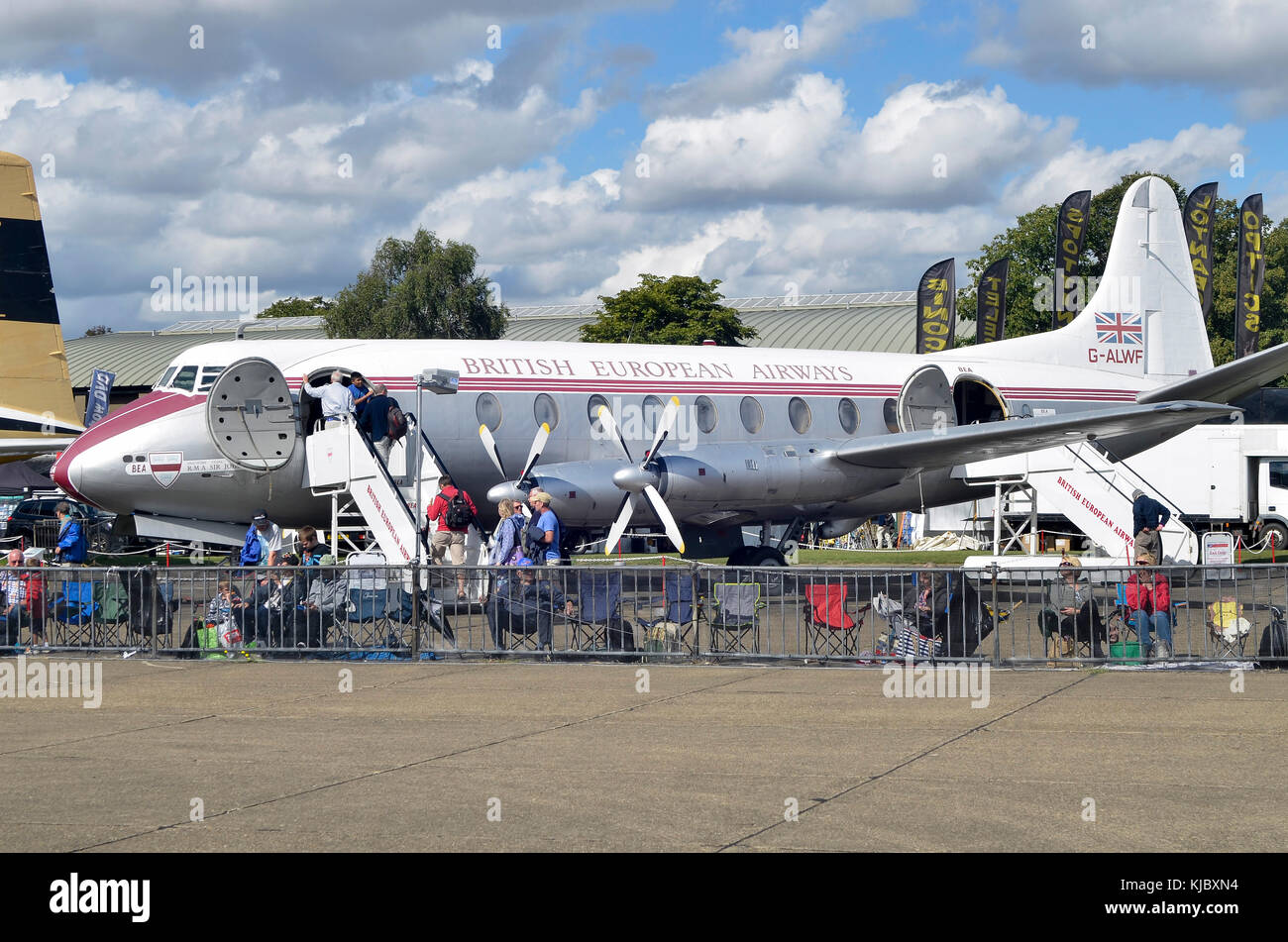 Vickers Viscount, British European Airways, Duxford, England. Vickers Viscount V701 wurde von BEA von 1953 geflogen, Stockbild