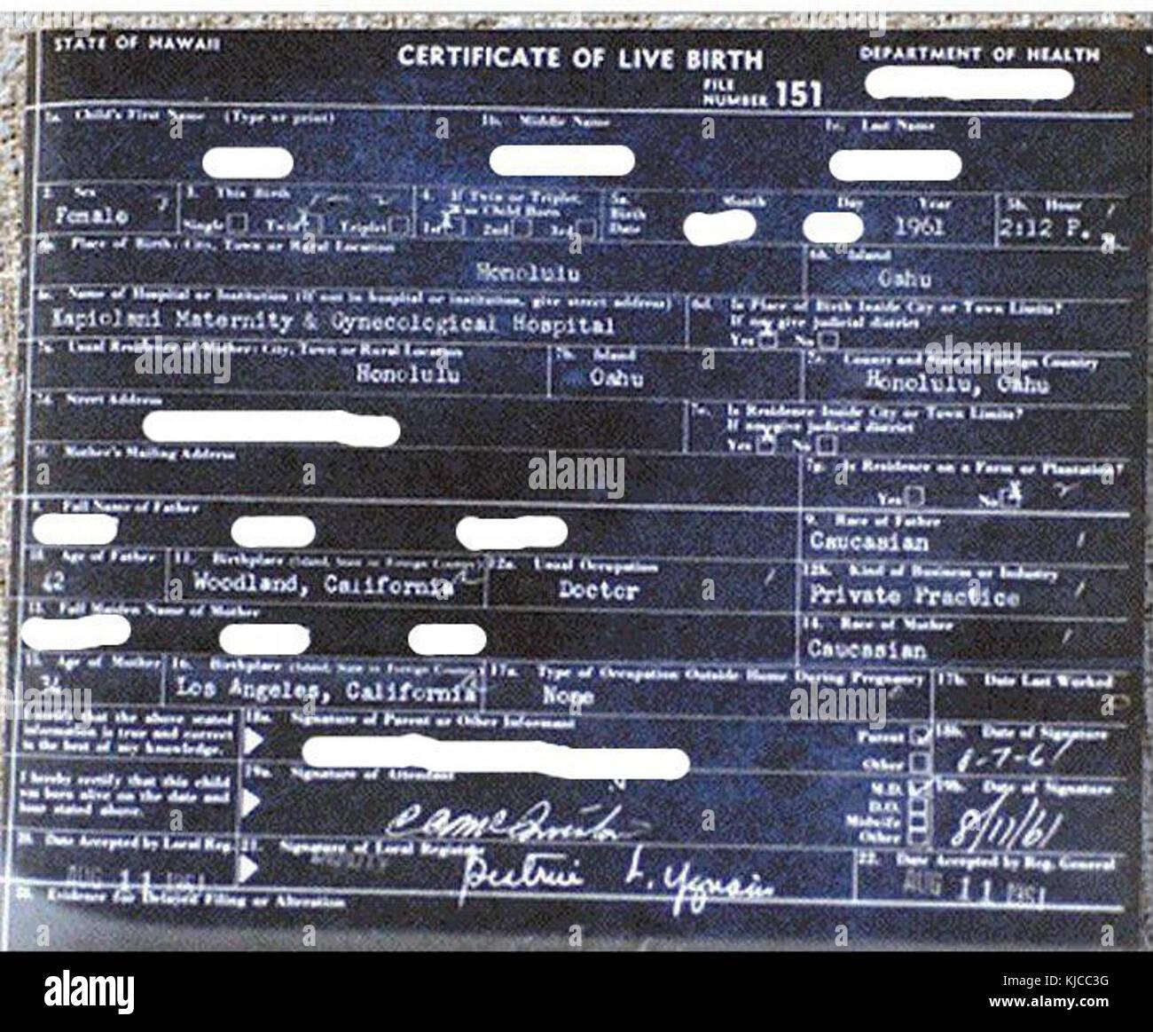 Certificate Of Birth Stockfotos & Certificate Of Birth Bilder ...