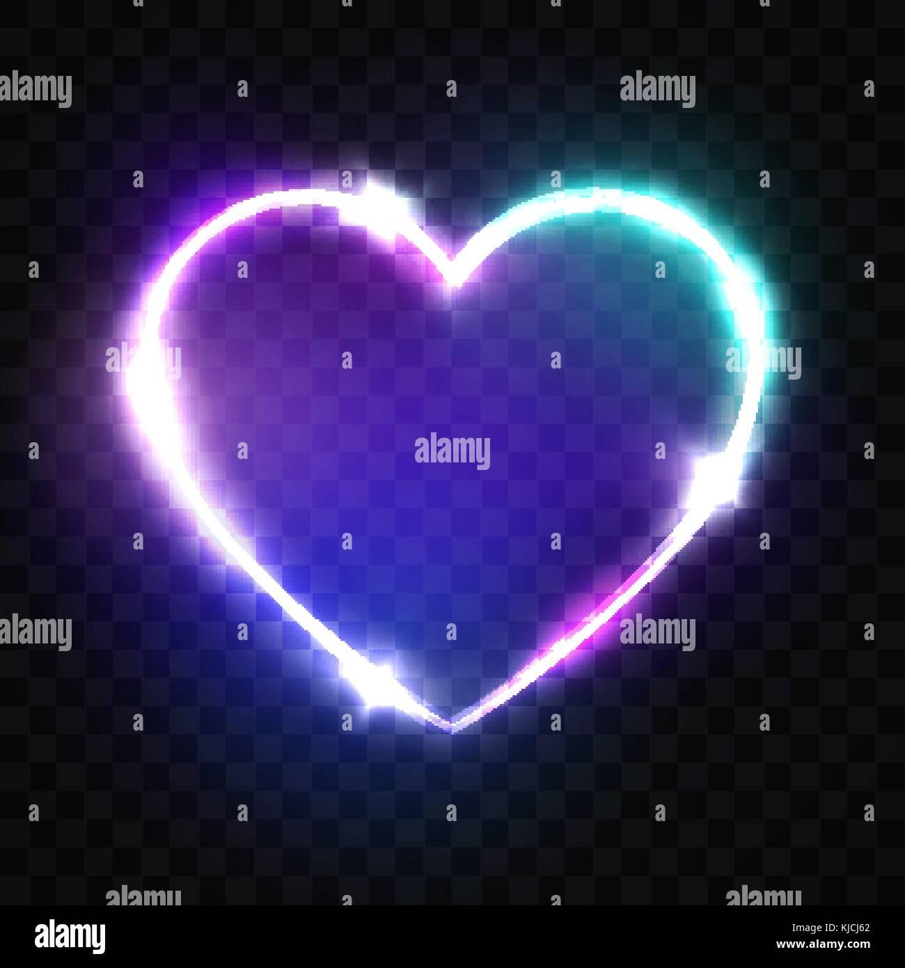 Night Club neon Herz unterzeichnen. 3d retro Licht Namensschild mit ...