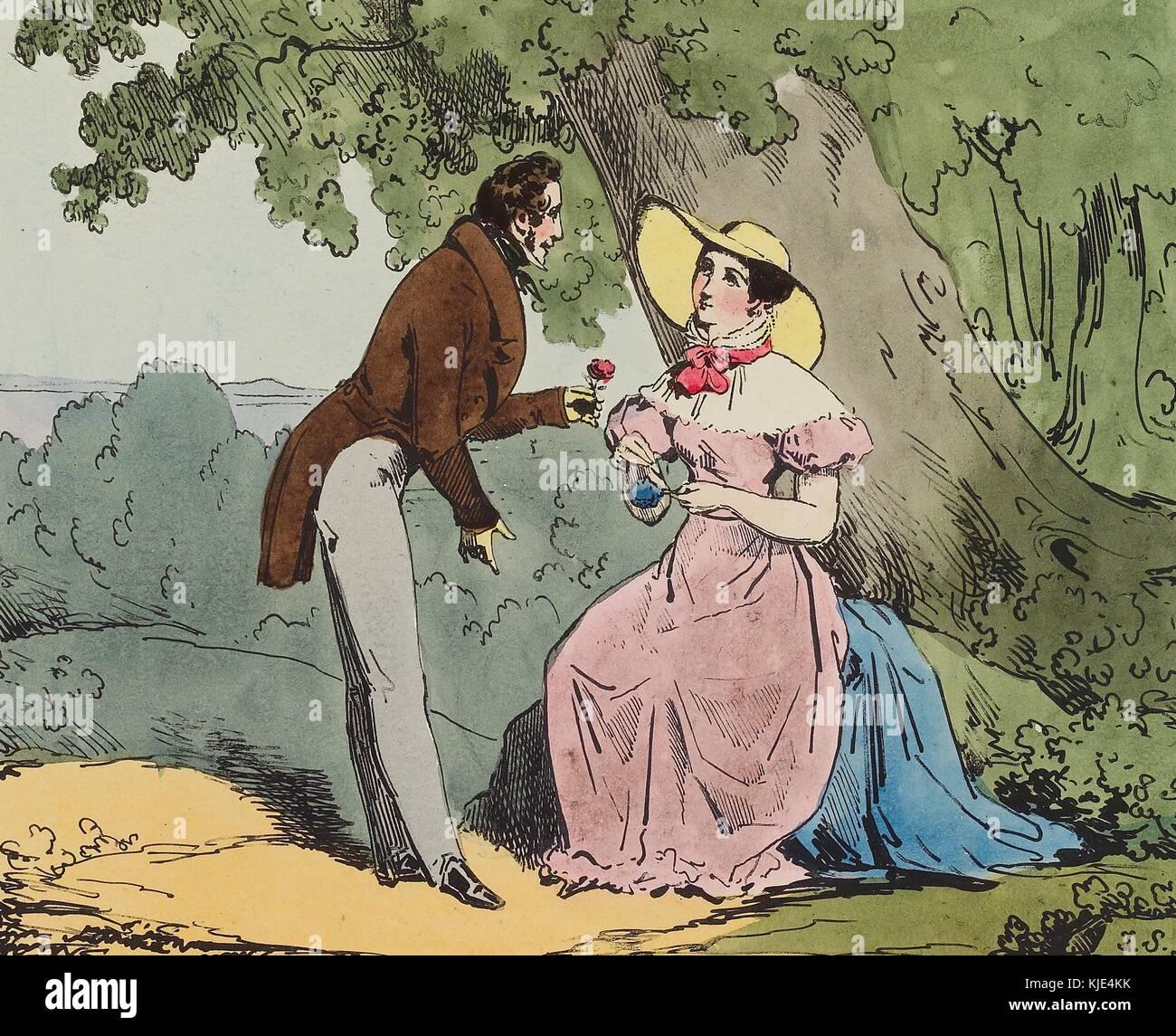 Eine Lithographie berechtigt, Einfachheit, ein Mann, eine Frau mit einer Rose, bat sie ihn, ihr seine Liebe zu gestehen, Stockbild