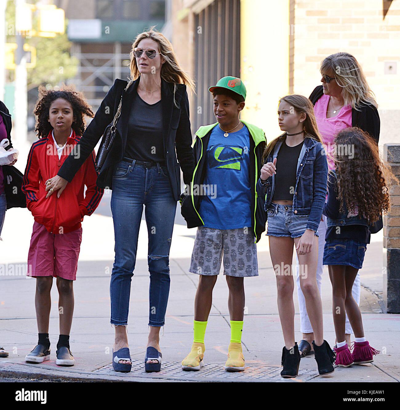 New York Ny Juni 09 Tv Persönlichkeit Heidi Klum Nimmt Ihre Kinder